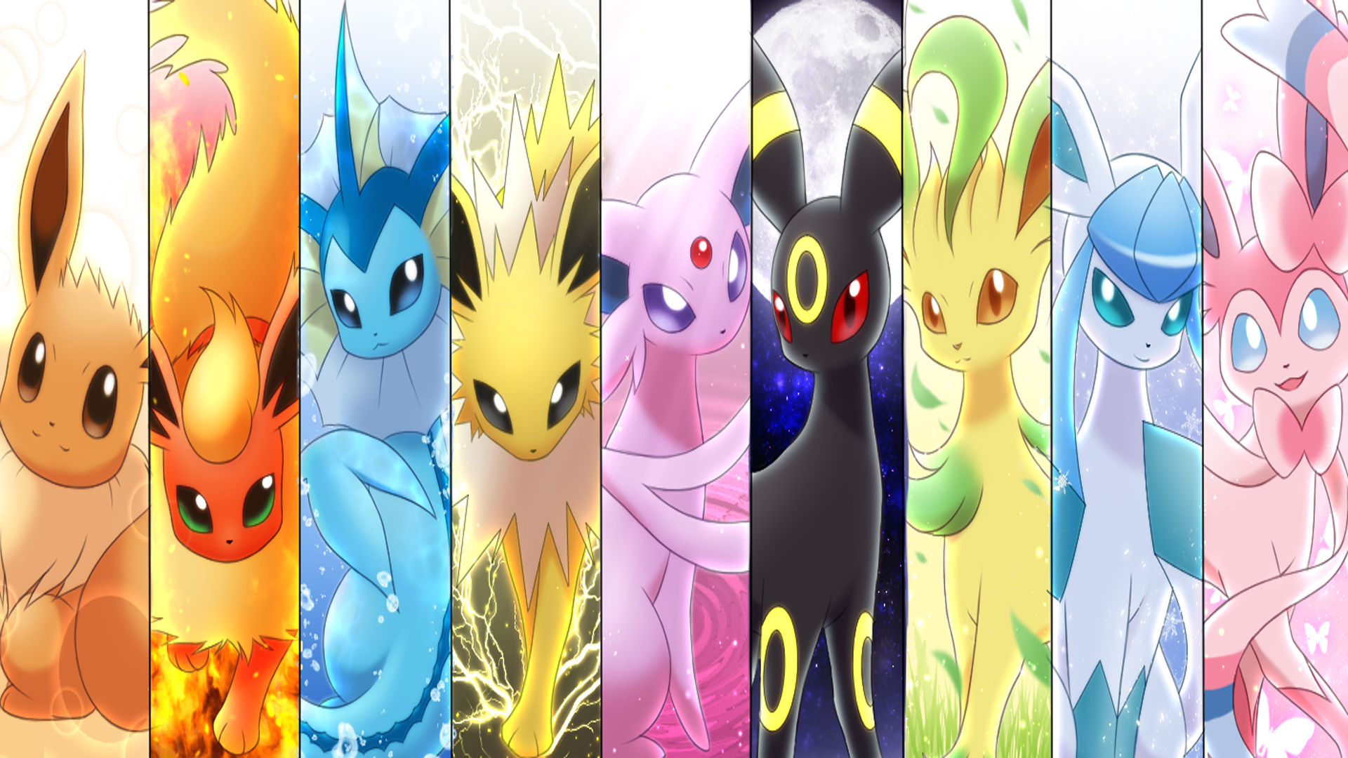 Pokemon Eeveelution Wallpaper Side By Side Download Free Hd Wallpapers