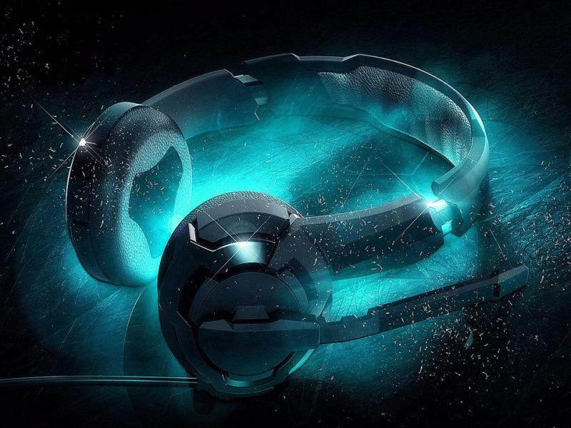 3d Headphones Wallpaper Fluorescent Blue Light Music