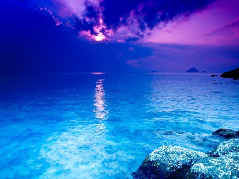 Violet Sky Ocean Wallpaper Hd