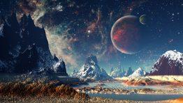 Sci Fi Mountain Galaxy Wallpaper Hd