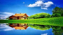 Lake Nature House Reflection Wallpaper Hd