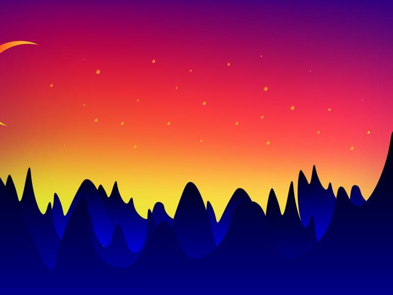 Mountains Moon Stars Artistic Wallpaper Hd