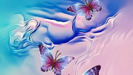 Blue Pink Butterflies Artistic Wallpaper Hd