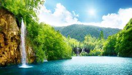 Falls Mountain Water Trees Nature Wallpaper Hd