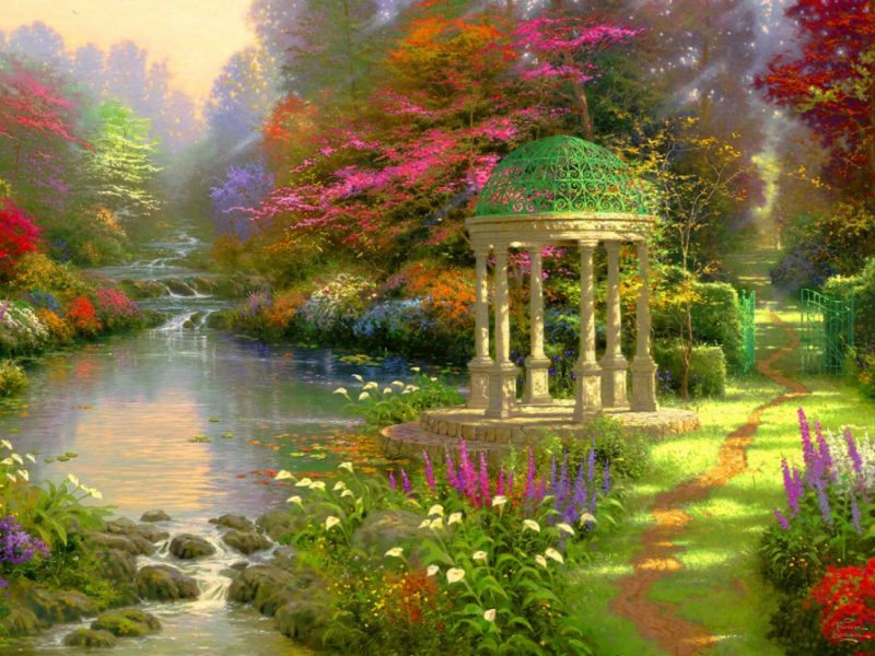 Garden River Painting Fantasy Nature Wallpaper Hd