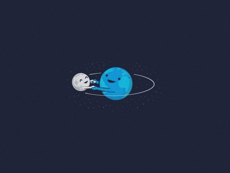 Moon Earth Artistic Wallpaper Hd