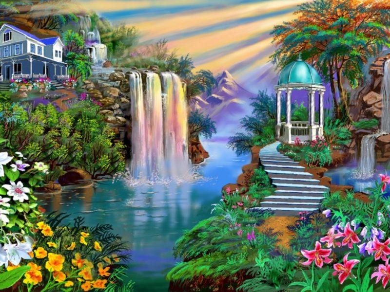 Painting Fantasy Falls Garden Nature Wallpaper Hd