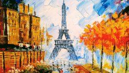 Painting Paris Eiffel Tower Classic Artistic Wallpaper Hd