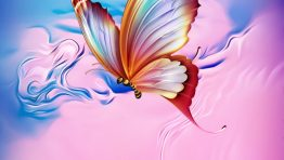 Pink Blue Butterfly Artistic Wallpaper Hd