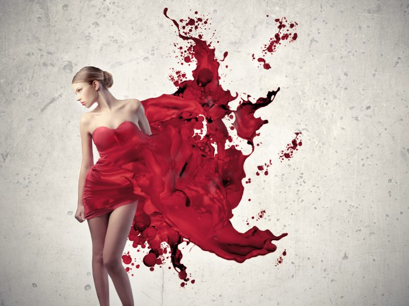 Red Girl Artistic Wallpaper Hd