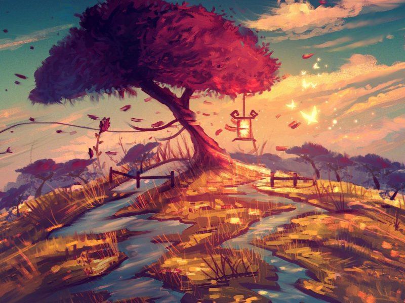 Tree Hill Artistic Wallpaper Hd
