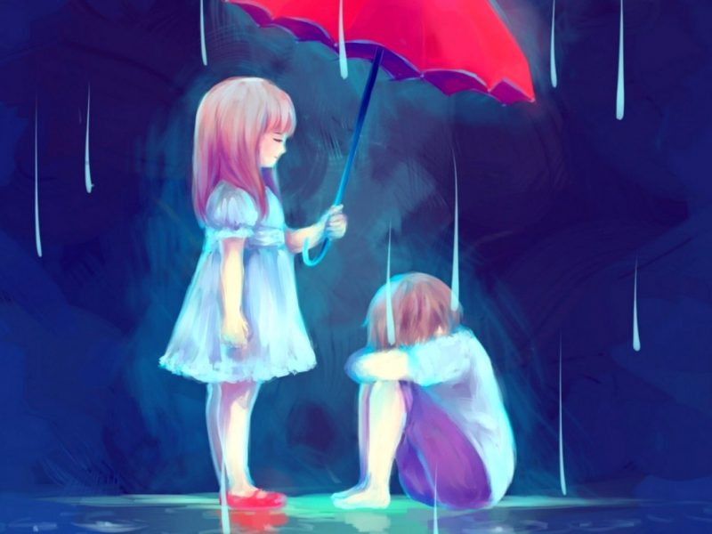 Umbrella Crying Couple Wallpaper Hd
