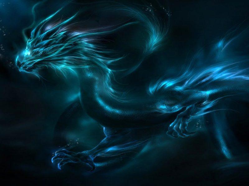 Blue Fantasy Dragon Wallpaper